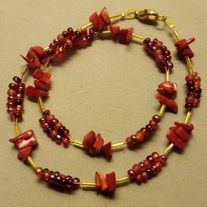"Native Design ""Red Morning"" 16"" Necklace Exquisite"
